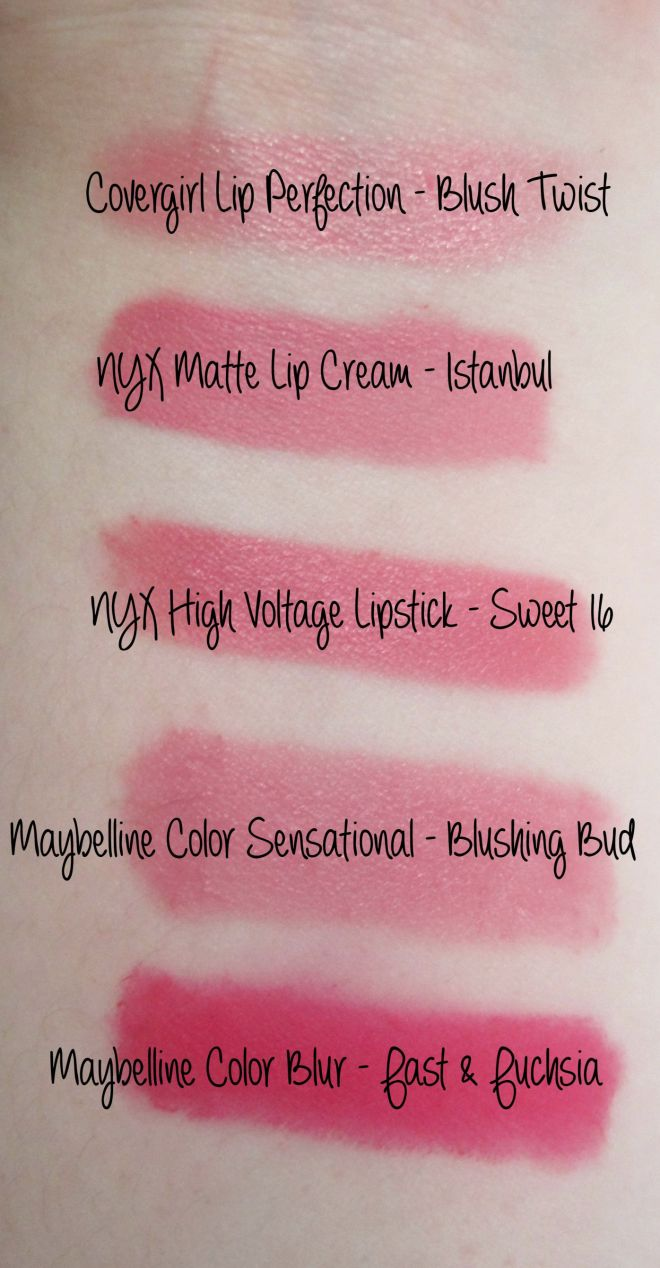 Favorite Pink Lipstick Swatches Detail